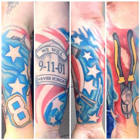 Tattoos - 9/11 tributre and linesman pliers - 84119