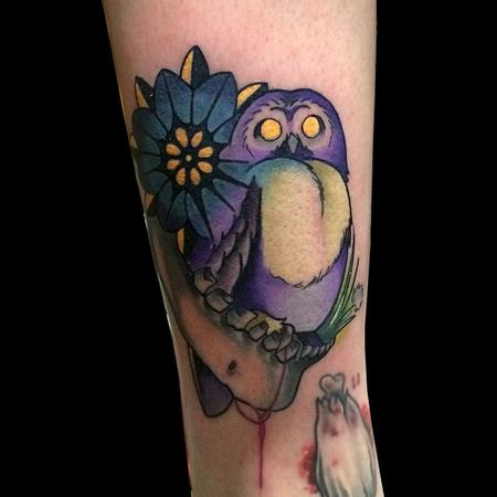 Tattoos - flower fused with owl - 95634