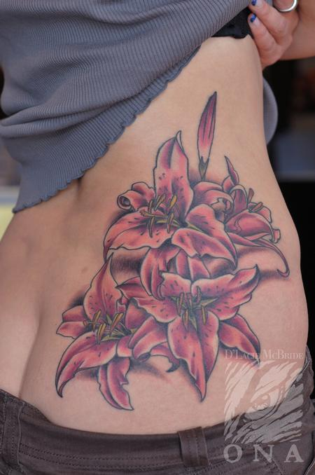 Tattoos - Stargazer lily pink flower tattoo - 84462
