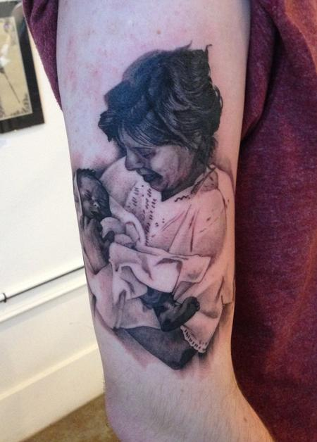 Tattoos - Mother and baby portrait tattoo - 84488