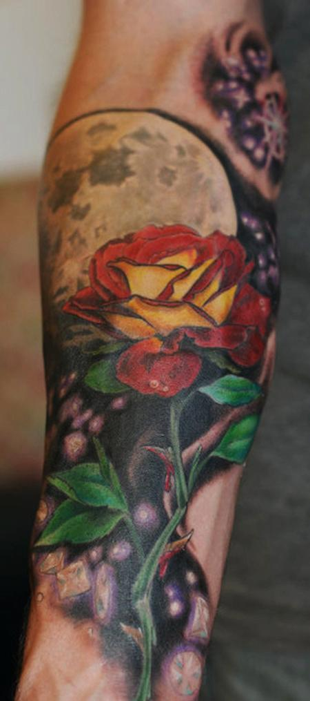 Tattoos - color rose moon tattoo - 84478