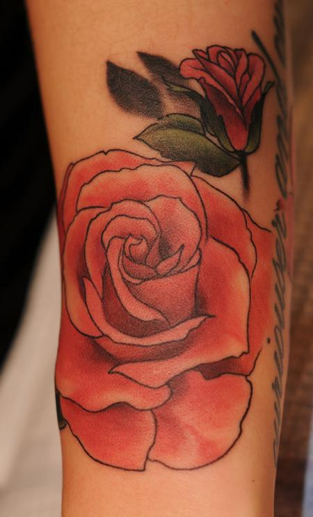 Tattoos - pink rose color tattoo - 84479