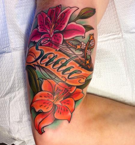 Tattoos - name flower color lily tattoo - 84497