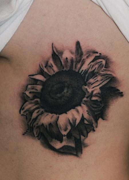 Tattoos - black and grey sunflower flower tattoo - 84481