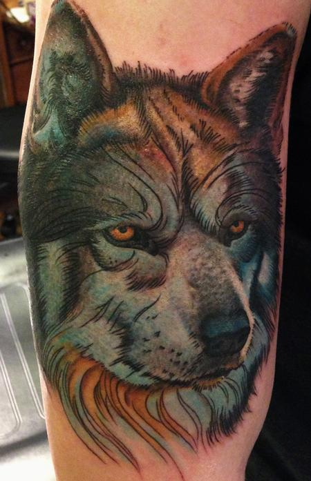 Tattoos - color wolf tattoo - 84498