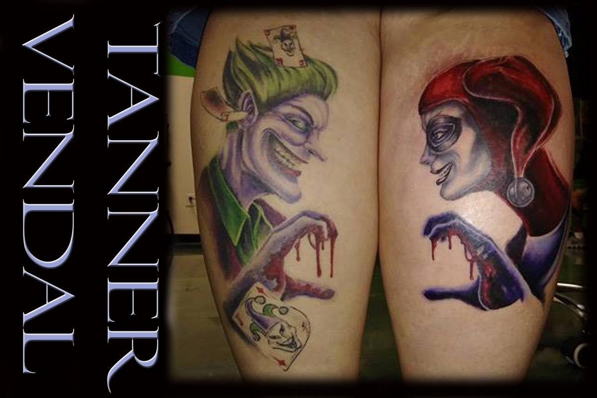 Joker harley quinn by tanner vendal tattoonow for Harley quinn and joker tattoo