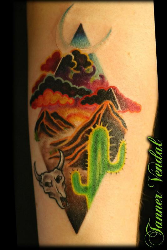 Texas desert by tanner by tanner vendal tattoonow for Fort worth texas tattoo shops