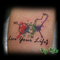 Tattoos - Serotonin Molecule w/script & watercolor - 130869