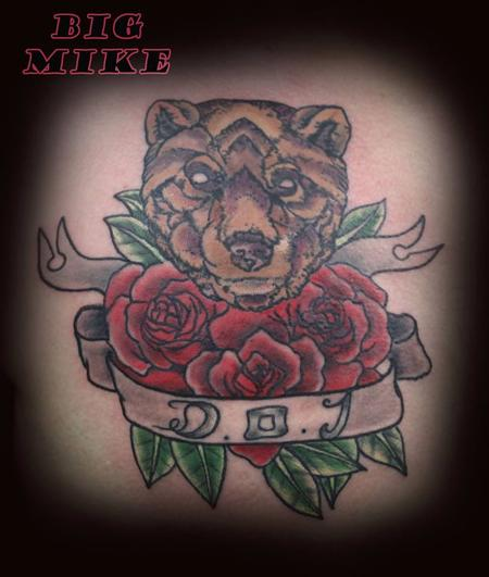 Tattoos - Bear and Roses - 131481