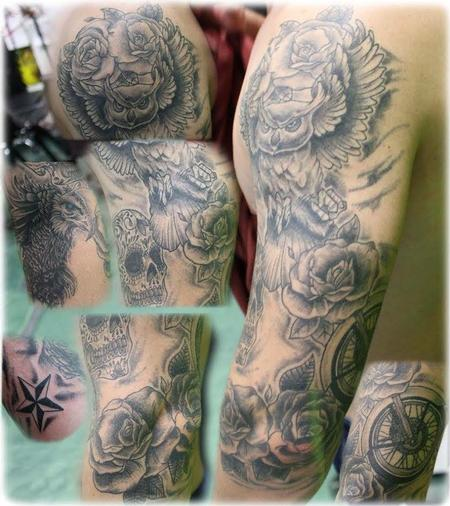 Tattoos - Black and Gray Sleeve - 125082
