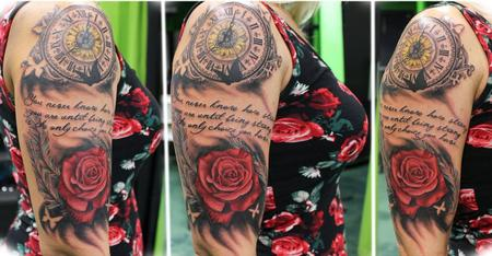 Tattoos - Clock, Script, and Rose - 124951