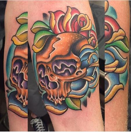Tattoos - Color Skull and Rose - 124944