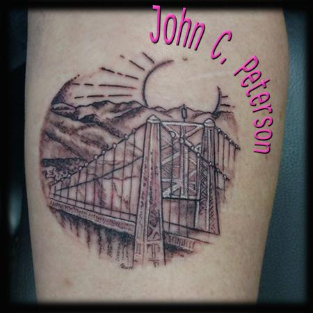 Tattoos - Scene with Bridge in Circle - 131617