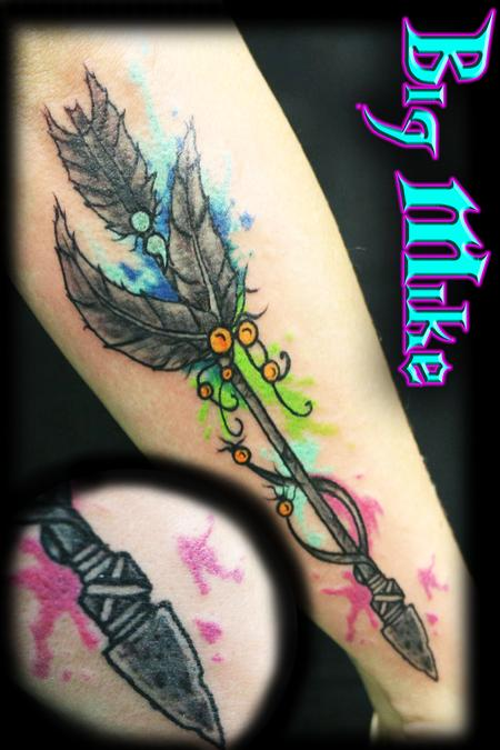 Tattoos - Custom Arrow with watercolor - 130268