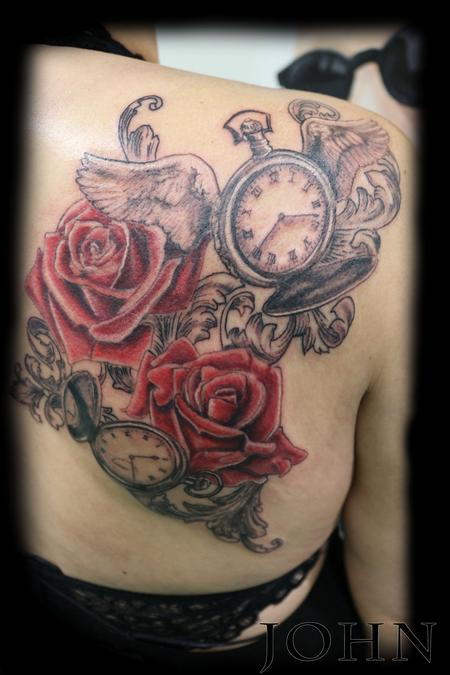 Tattoos - John_pocketwatch_roses - 128517