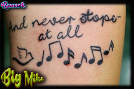 Tattoos - Reworked Music Notes and Qoute - 131866