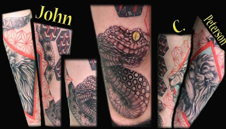 Tattoos - Realistic To Geo Faded Snake - 131081