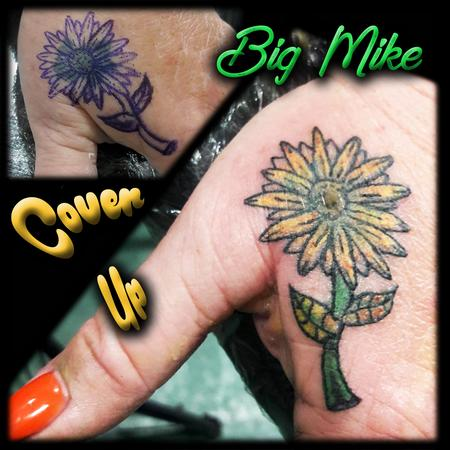 Tattoos - Sunflower used to cover an older piece - 131862
