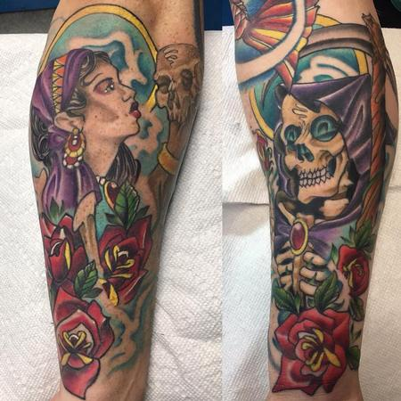Tattoos - Traditional gypsy and reaper - 132508