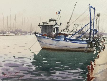 Trawlers at Hyeres Tattoo Design Thumbnail