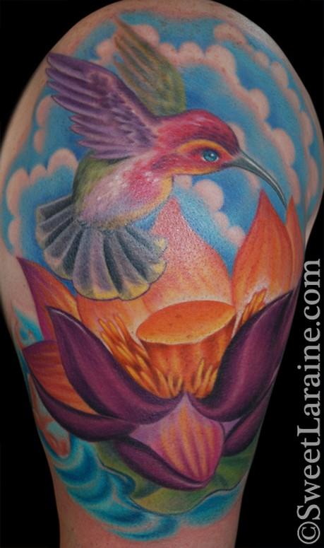 Hummingbird lotus by sweet laraine tattoonow for Element tattoo san antonio