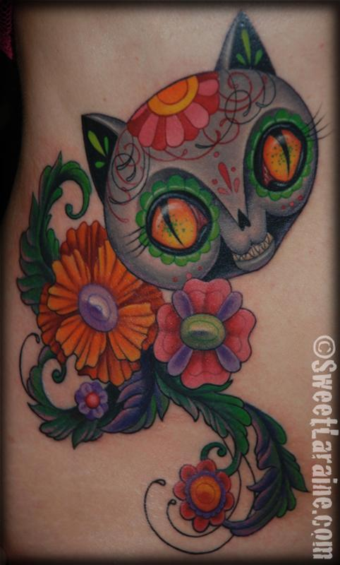 Dead cat by sweet laraine tattoonow for Element tattoo san antonio
