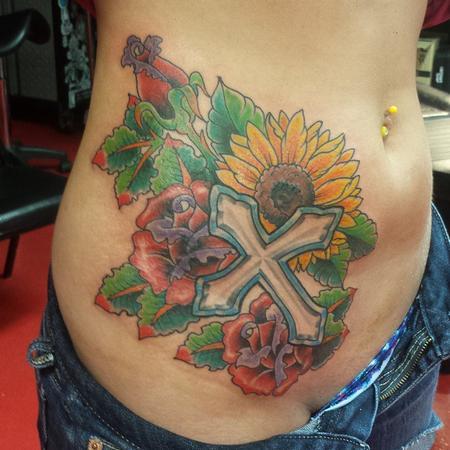 Jesus flowers by rick tattoonow for Element tattoo san antonio texas