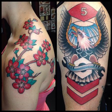 Tattoos - Cherry Blossoms and Eagles - 102221