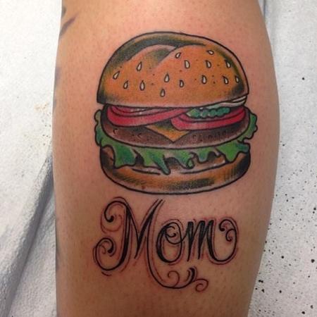 Small Burger Tattoo Tattoos Mom's Burger 81043