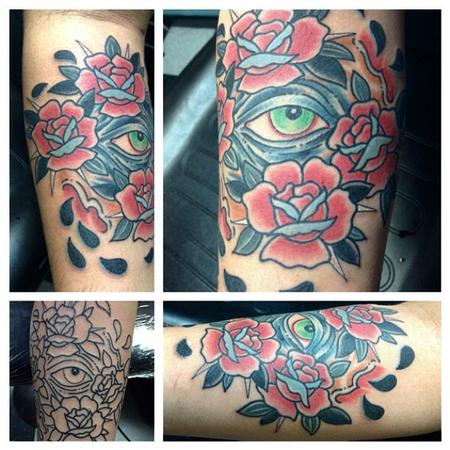 eye and roses Tattoo Design