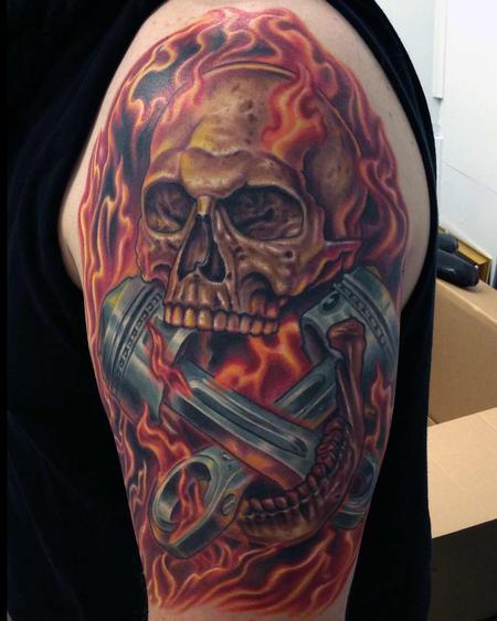 Skull, Pistons, Fire Design Thumbnail