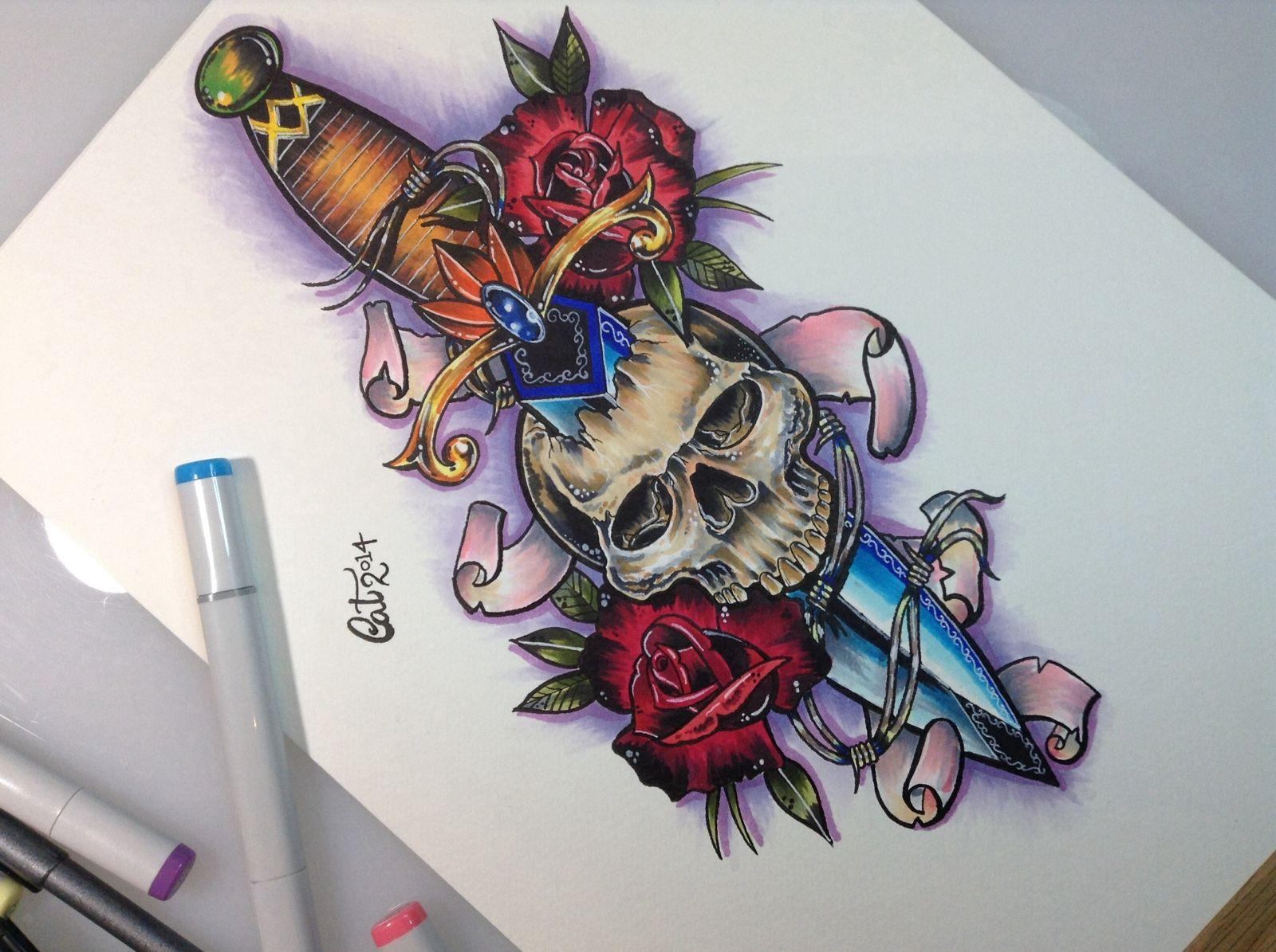 skull dagger roses