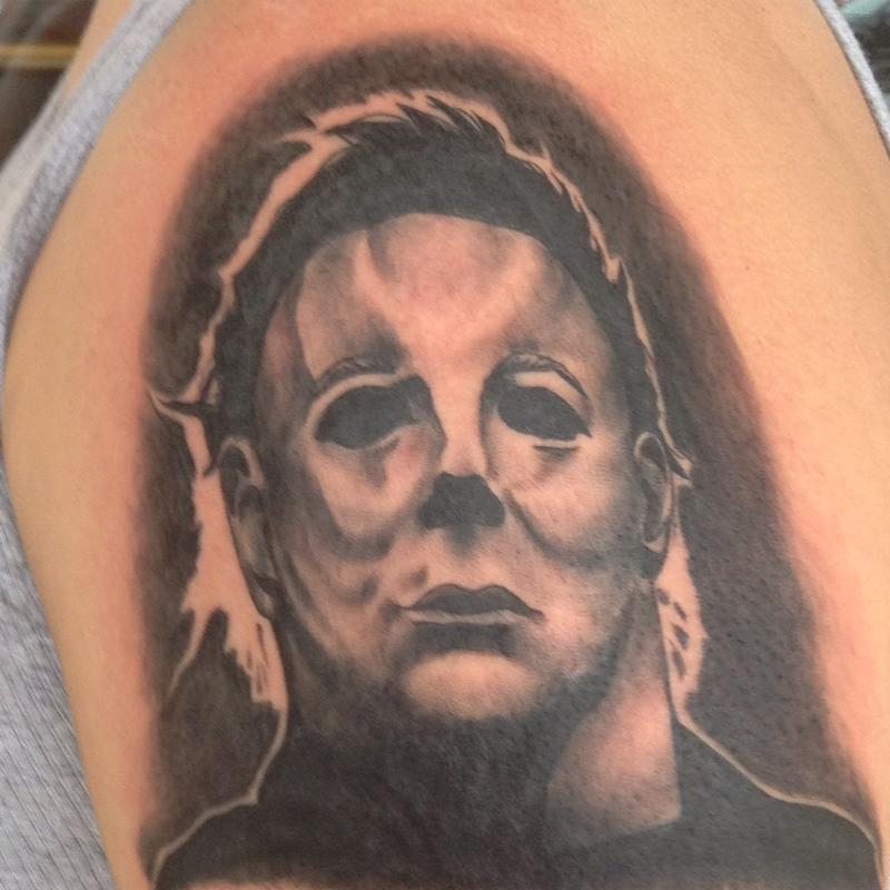 Michael myers by cat johnson tattoonow for Michael myers tattoo