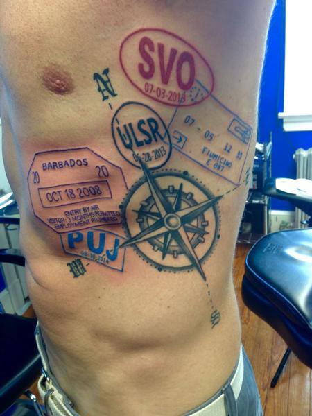 Tattoos - Compass Passport Stamps - 122116
