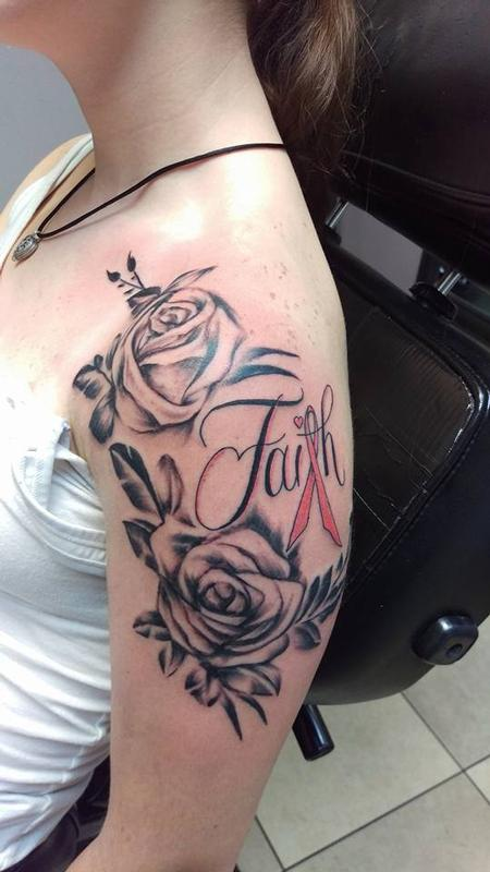 Tattoos - cancer ribbon and rose - 123069