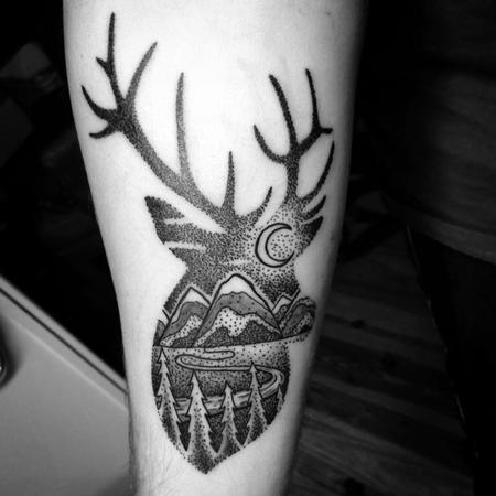 Tattoos - Dotwork Deer Landscape - 122128