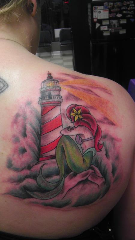 lighthouse & mermaid Tattoo Design Thumbnail