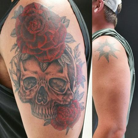Tattoos - Skull Rose Cover Up - 129521