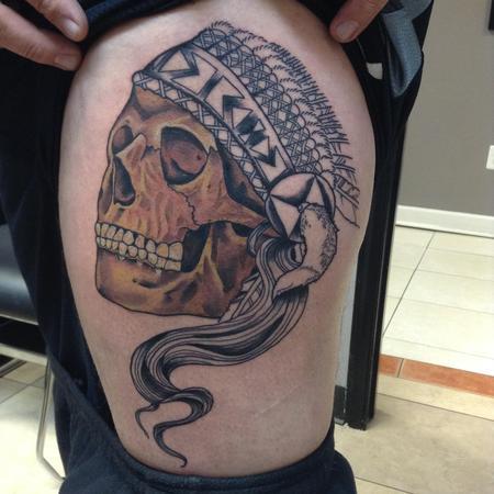 Tattoos - Native American Skull - 124912