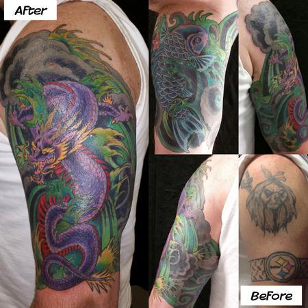 Tattoos - Dragon and Koi - 127570