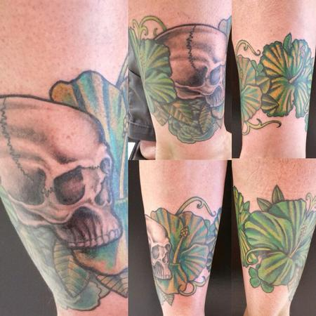 Skull with green floral cover up Design Thumbnail