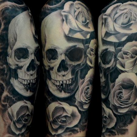 Black and Gray Skull and Rose Tattoo Tattoo Design Thumbnail