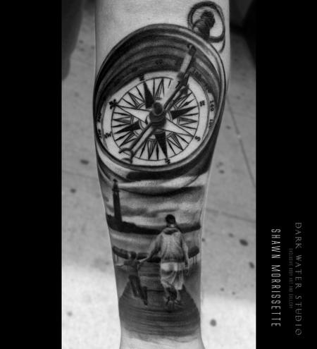 Tattoos - Compass & Lighthouse Scene - 127936