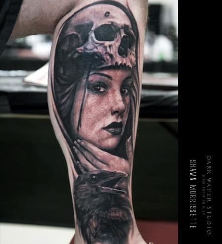 Tattoos - Skull, Woman & Raven - 127934
