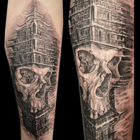 skull and architecture by jose perez jr tattoonow. Black Bedroom Furniture Sets. Home Design Ideas