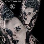 Bride of Frankenstein Cross Zoom Tattoo Design Thumbnail