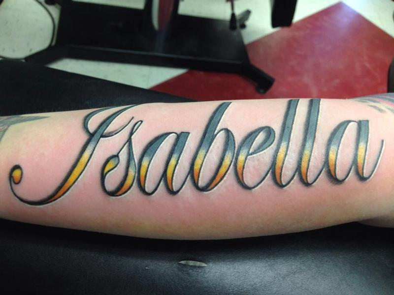 Isabella in color script by izzy morales tattoonow for Name tattoos with color