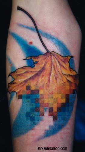 Tattoos - pixilated leaf 2 (detail) - 1304