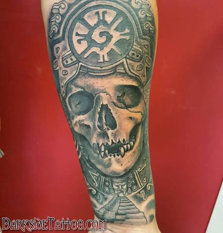 Black and Gray Mayan Witchdoctor Tattoo