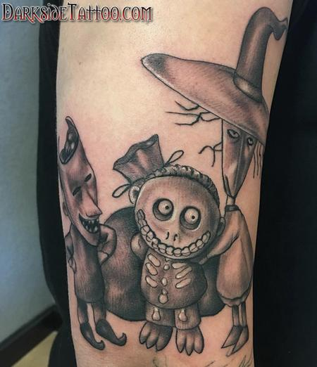 Black and Gray Nightmare Before Christmas Tattoo